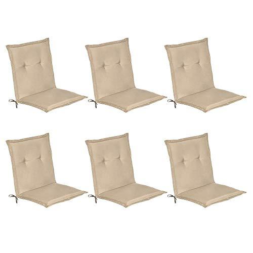 Beautissu Loft NL - Set de 6 Cojines para sillas de balcón o Asiento Exterior con Respaldo Bajo - 100x50x6 cm - Placas compactas de gomaespuma - Natural
