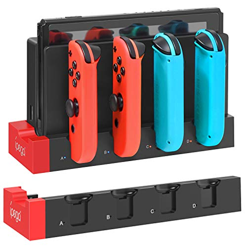 Charging Dock Compatible with Switch Joy Cons Controllers, [Add to Dock] Portable Desktop Charging Station Stand with Extended USB Port - Black/Red