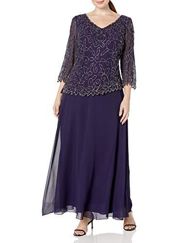 J Kara Women's Plus Size V-Neck with 3/4 Sleeve Long Dress, Violet/Mercury, 22W (Apparel)