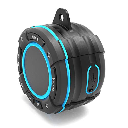 SmithBagge IP67 Shower Speaker Waterproof Bluetooth Speaker FM Radio Mic and LED Mood Lights Super Bass and HD Sound for Bathroom Kitchen Pool Beach amp Outdoor | Portable amp Wireless Speaker