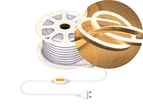 Ogeled - Tira de luces LED de neón (1-50 m, blanco cálido, blanco neutro, blanco frío, sin puntos de luz, resistente al agua, para interior/exterior, 230 V, regulable), blanco cálido, 5,0 m