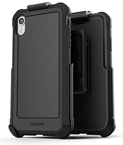 Encased Heavy Duty Belt Clip Case Designed for iPhone XR - Military Spec Protection with Holster and Tempered Glass Screen Protector (Black)