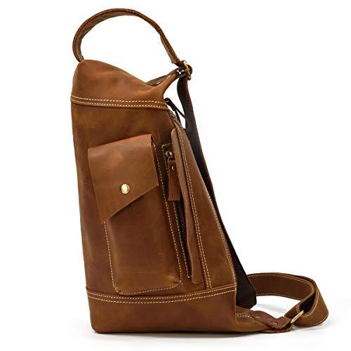 LUUFAN Men's Leather Sling Bag Chest Bag Shoulder Backpack for Leisure Travel Work (Light Brown)