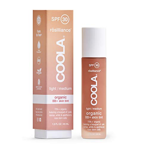 Coola, Organic Rosilliance BB+ Cream Tinted Moisturizer Sunscreen Skin Care Broad Spectrum SPF 30 Reef Safe, Light/Medium, 1.5 Fl Oz
