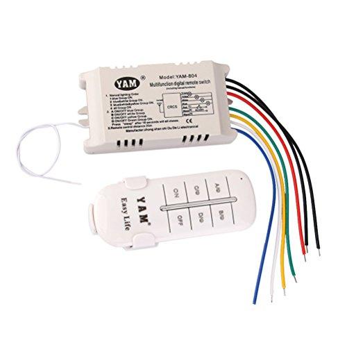UEETEK CA 200-240V 4-way OFFON interruptor con Control remoto (blanco)