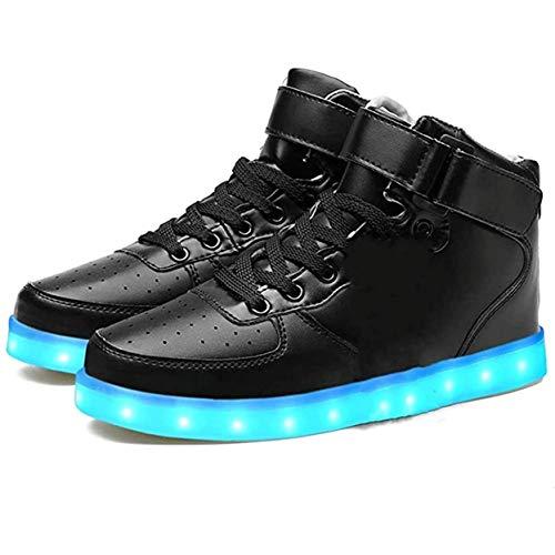LeKuni Unisex buty podświetlane LED 2021 ulepszenie 7 kolorów, migające światła Light Up High Top Sneakers, czarny - czarny - 37 eu