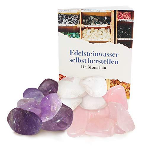 250 Gramm Edelsteine zur Herstellung von Edelsteinwasser plus Booklet und Jutebeutel I Set aus Trommelsteinen Rosenquarz, Amethyst und Bergkristall I 100% Natürliche Heilsteine