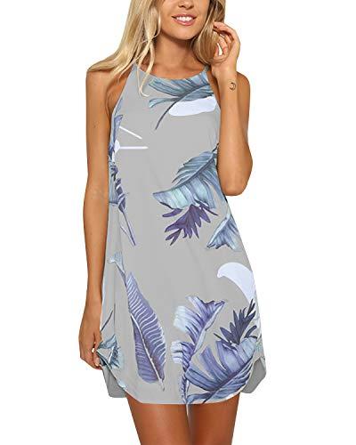 YOINS Strandkleider Damen Sommer Casual Sommerkleid Damen Kurz Strand Schulterfrei Elegant Kleider Ärmellos Minikleider A-grau M