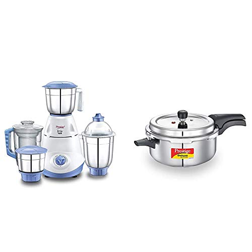 Prestige Iris 750 Watt Mixer Grinder with 3 Stainless Steel Jar + 1 Juicer Jar (White and Blue) +...