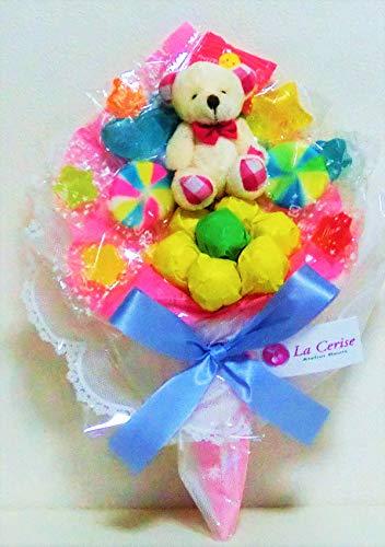 キャンディーブーケ 手持ちSサイズ シロクマさん(ピンク)発表会 花束 (ピンク)