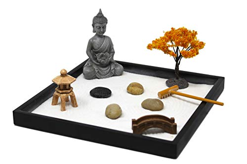 Nature's Mark, Mini Meditation Zen Garden Table Décor Kit with Accessories (9Lx9W Square A)