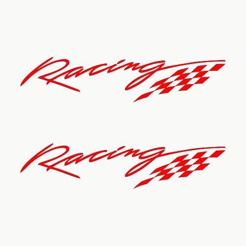 Autodomy Autocollants Racing Sport Tuning JDM OEM Pack de 2 unités pour Voiture (Rouge)