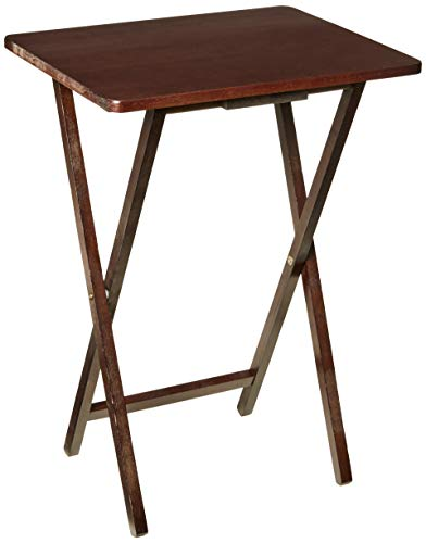 PJ Wood Folding TV Tray & Snack Table - Espresso Finish Rubberwood