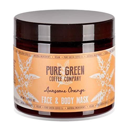 Pure Green Coffee Co. - Feuchtigkeitsspendende und nährende Maske für Gesicht und Körper. Aufhellende Eigenschaften der Orange, angereichert mit grünem Kaffee für befeuchtete Haut, vegan. 200 ml Glas