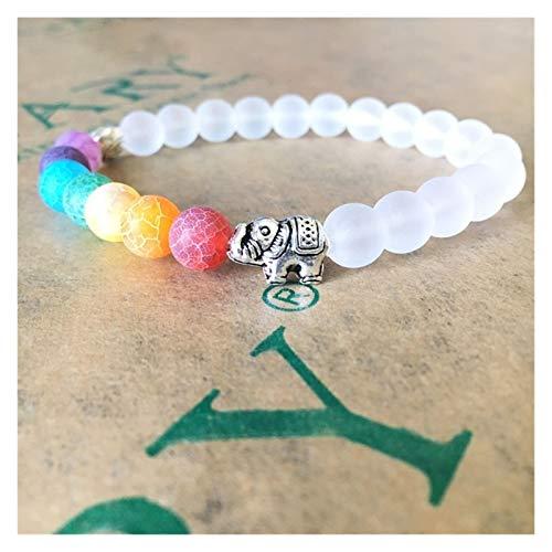 KGMIXL Hermosamente Pulsera para Hombres Mujeres Reiki Oración Piedra Brazaletes Joyería para su Esposa, señoras, mamá (Metal Color : White)