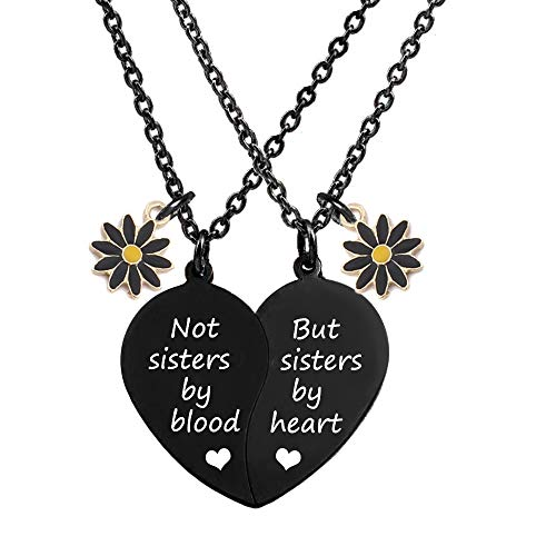 jovivi friends necklace for 2 silvers MJartoria BFF Necklace for 2-Split Valentine Heart Necklace Not Sisters by Blood Pendant Best Friends Necklaces Friendship Necklace Set of 2 Gifts for Her