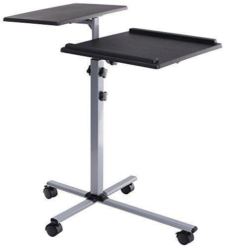 Pronomic PT-2 Beamer- und Projektorwagen Beamertisch, Rollwagen Medienwagen für Video-, Dia-, Overhead-Projektoren, Laptoptisch, Notebooktisch (höhenverstellbar, Ablageflächen) schwarz