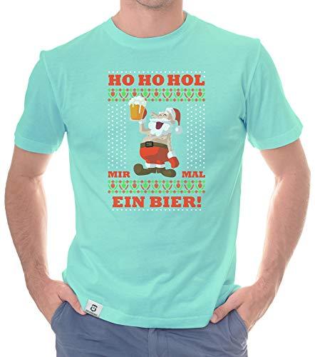 shirtdepartment - Herren Hoodie & T-Shirt - Ho Ho mal EIN Bier - Weihnachts-Fun-Design türkis-T-Shirt XL
