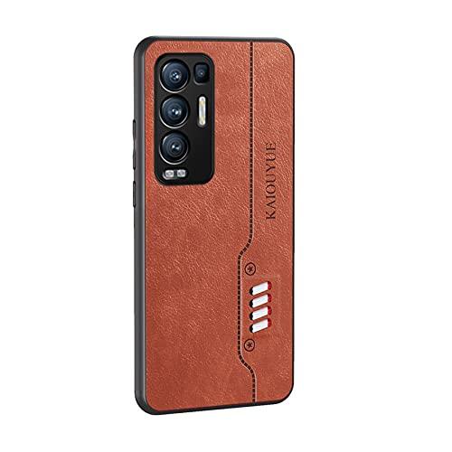 ESTH® Hülle für Oppo Find X3 Neo, PU Leder + TPU Stilvolle Hülle, Leicht Weich Stoßfest Handyhülle Hybrid Bumper Schutzhülle, Brown