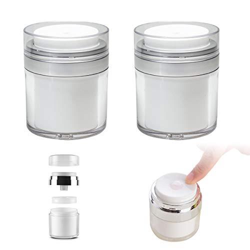YCoo Acryl-Vakuumpumpflasche, Airless, nachfüllbar, Reise-Kosmetikgläser, weiß, 2 Stück