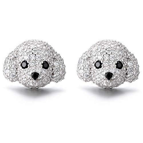Ginger Lyne Collection Poodle Maltese Puppy White Dog Cubic Zirconia Cz Simulated Diamond Solid Sterling Silver Pierced Stud Earrings Paw Print Jewelry for Girls Women Teens Dog Mom