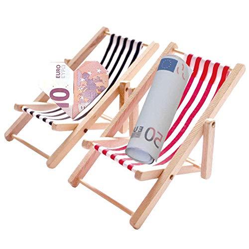 Miniatur Liegestuhl - 2 Stück 1:12 Holz Miniliegestuhl Strandkorb - Kleiner Strandstuhl für DIY Fee, Puppenhaus Garten, Strand-Mikrolandschaft Deko, Mini Möbel Modell Zubehör mit Rot/Schwarz