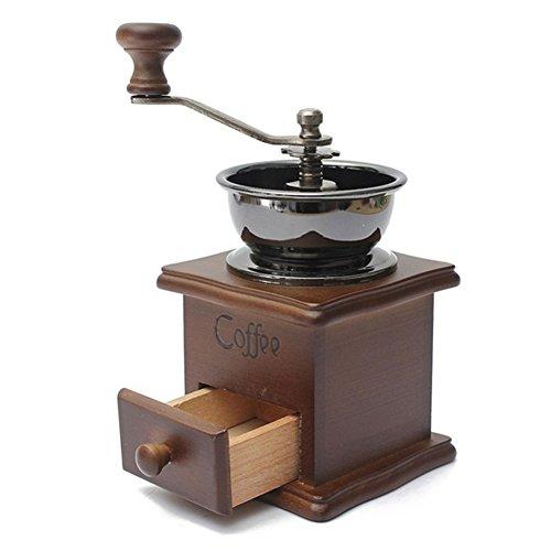 Macina caffè manuale, mini stile vintage Burr chicco di caffè smerigliatrice macina caffè macinino manuale con manovella in legno Taglia libera As Shown