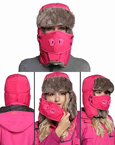 Sombrero de piel de trampero de invierno, gorros de policía con tapa de cara Hombres Mujeres - Sombreros de rusia Ushanka ruso unisex a prueba de agua, tapa de bombardero a prueba de viento (Red)