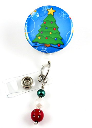 Christmas Tree Mylar- Nurse Badge Reel -Retractable ID Badge Holder - Nurse Badge - Badge Clip - Badge Reels - Pediatric - RN - Name Badge Holder