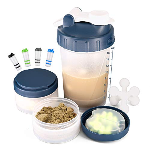 16 OZ Protein Shaker Bottle with Mixer Ball and 2 Interlocking Storage Jars for Pills, Snacks, Coffee, Tea. 100% BPA Free,Non Toxic and Leak Proof Sports Bottle (navy)