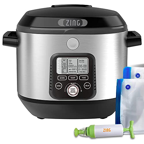 Zing Cook Sous Vide 8-in-1 Multi-Cooker Machine Starter Kit - Stainless Steel - Programmable Precise Temperature Cooking with Digital Timer – Basic Package Includes Manual Vacuum Sealer - 6 Quarts