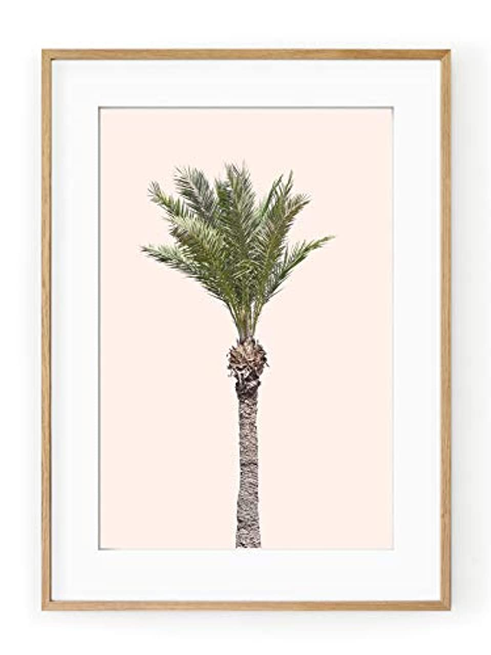 Palm Tree on Pink Background with White Lacquer Wooden Frame and Mount, Multicolored, 40x50