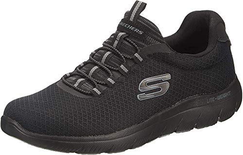 Skechers Herren Summits Slip On Sneaker, Schwarz (Black Mesh/Trim BBK), 47.5 EU