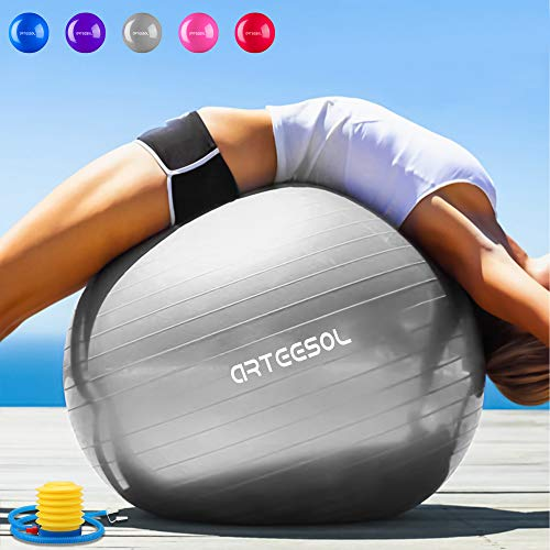 arteesol Balle Fitness 65 cm/75 cm Anti-éclatement Anti-dérapant Yoga Swiss Ball Accouchement Balle Rapide Pompe Fitness Gym Yoga Pilates Core Training Thérapie Physique (Argent, 45cm)