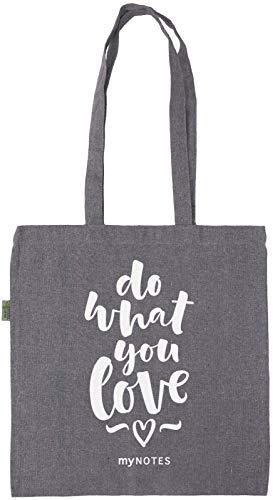 myNOTES Do what you love - geräumige Stofftasche aus recycelter Baumwolle zum Umhängen mit viel Platz für Einkäufe, Bücher und Alltagsdinge