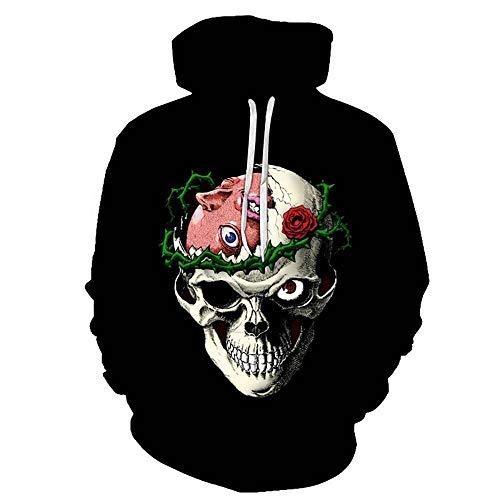 MUJOELE Sudadera informal con capucha para hombre, diseño de calavera 3D con impresión digital Esqueleto Parasitario XS