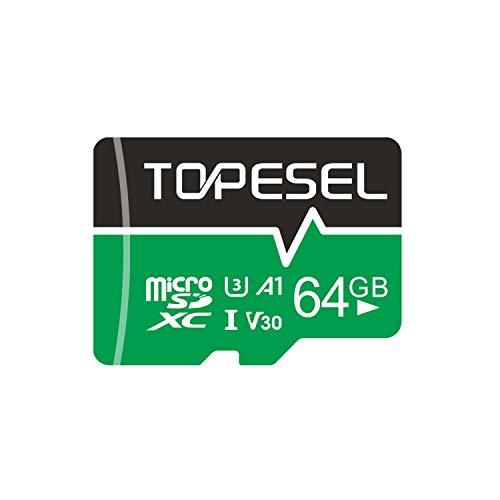 Micro SD Karte 64GB, TOPESEL SD-Karte MicroSD Speicherkarte SDXC High Speed bis zu 85 MB/s Micro SD Memory Card C10, U3, Mini TF Karte für Handy Samsung Huawei, Blau
