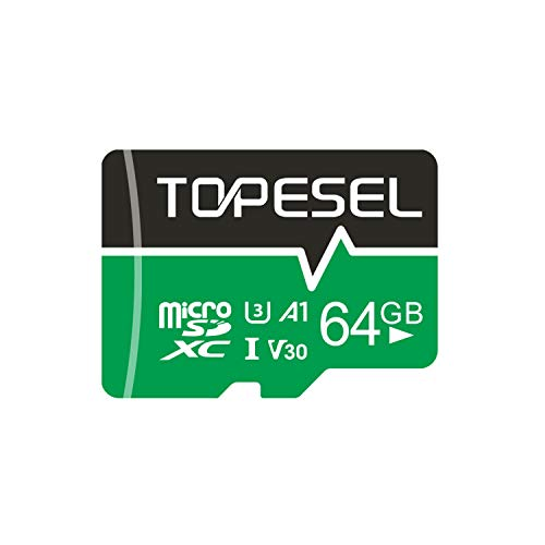 TOPESEL Micro SD Karte 64GB,Mini SD Karte MicroSD Speicherkarte SDXC High Speed bis zu 85 MB/s Micro SD Memory Karte U3, V30, A1 Mini SD-Karte für Handy Samsung Huawei, Grün