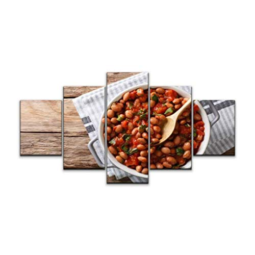 Night in U.S Canvas Art Wall stewed Cranberry Beans or borlotti in Tomato Sauce with Herbs Close up Paintings Vintage Prints Home Decor Artworks Gift Ready to Hang for Living Room 5 Panels Large Size