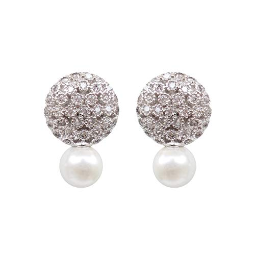 Hiqmic 925 Sterling Silver Pearl Ear Stud Earrings for Women Zirconia & White Gold Plated Fashion Jewelry Gifts - WK90119