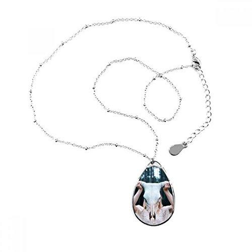 DIYthinker Sheephead niña Forestal Ciencia Naturaleza lágrima Forma Colgante Collar Joyas con Cadena decoración Regalo