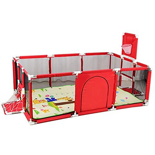 CHILD FENCE Kind-Laufstall Faltbar, Kinderreisefach Mit Bodenmatte Drinnen Oder Draußen Kinder-Laufstall Tragbar Waschbar Mittelzaun Atmungsaktives Netz für Kind Kleinkind,Rot