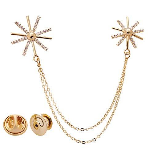 aimaoer Einfache Kragen Taste Weibliche Mode Stehkragen Herren Anzug Wildes Hemd Kleidung Brosche Zubehör, Gold