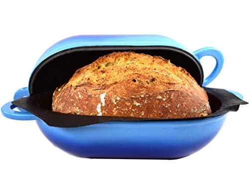 LoafNest - Das einfachste handwerkliche Brotbackset der Welt. Gusseisenkasserolle [Blauer Gradient] und nichthaftende perforierte Silikonauskleidung