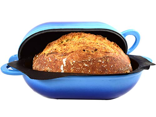 LoafNest: Incredibly Easy Artisan Bread Kit. Cast Iron Dutch Oven and Made in France Non-Stick Perforated Silicone Liner [Blue Gradient].