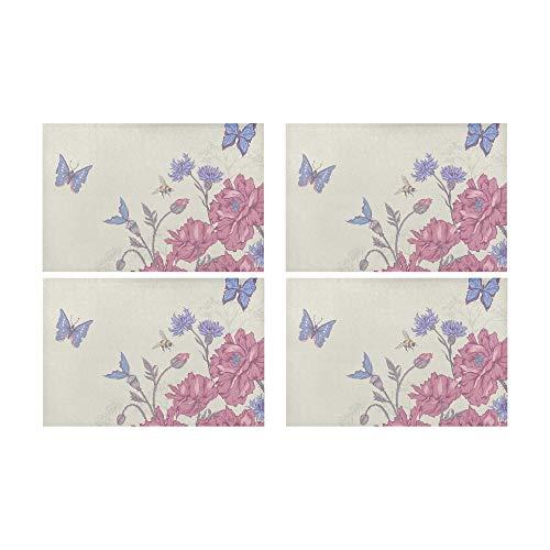 Yushg Tapis de Restaurant pour Enfants Floral Summer Bee Butterfly antidérapant résistant aux Taches Lavable Set de Table Set de Table Cuisine 12\