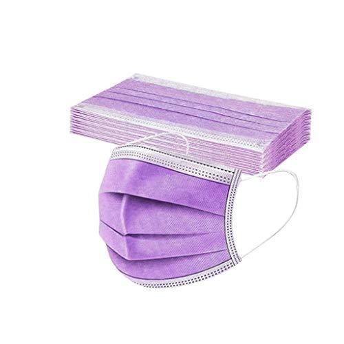 DIAU 10-100 Stück Erwachsene Einweg Mundschutz Multifunktionstuch, 3-lagig Mode Maske,Weiche Staubdicht Atmungsaktive Vlies Mund-Nasenschutz Bandana Halstuch (Lila)