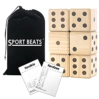 SPORT BEATS Giant Wooden Yard Dice Set of 6 Yardzee and Yardkle Games Yard Outdoor Lawn Games for Adults and Family -Choose Your Set