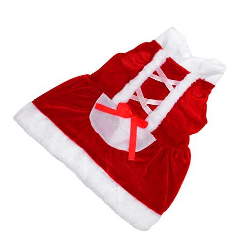 Amosfun Jultomte hundklänning valpklänning husdjurskostym liten hund vinterklänning katter bomullskappa för jul tacksägelsedagen vårfestival nyårsklänning (storlek XS)