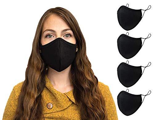Noir Coton Femme Masque en tissu lavable Tissu de protection réutilisable et réglable Couvercle Avec Sangle Réglable Bouche Couvre Enfant Masques France – Pack of 4